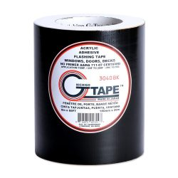 G-Tape Permanent Adhesion Construction Flashing Tape – Black – 6″ x 65′